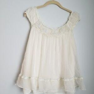 Vintage Lisette off white chemise baby blue trim